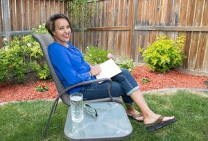 Genet Mehari in her Calgary garden