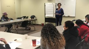Genet Mahari leading immigrant women's workshop